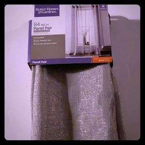 Pair of Silver Woven Curtain Panels